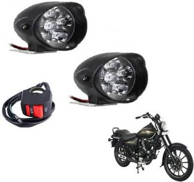 RA Accessories 6 LED HJG Waterproof Fog Light with on/off Handlebar Switch for Bike/Car (Pack Of 2)