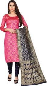 Anand Jacquard Silk Pink & Blue Color Unstitched Dress Material (JDM35 )