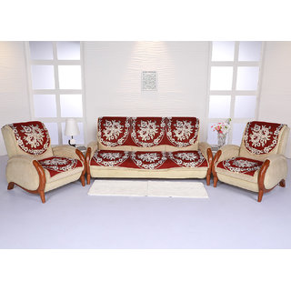 Xtromac Maroon Floral Design Cotton Sofa Cover Set For Living Room- 5 Seater(3 + 1 + 1)
