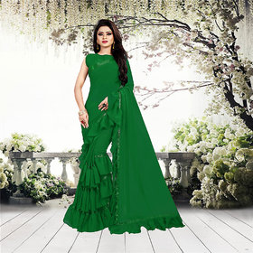 Aldwych Women's Green Georgette Ruffle Saree With Blouse
