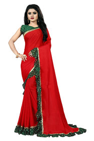 Aldwych Women's Red Georgette Ruffle Saree With Blouse