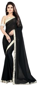 Aldwych Women's Black Georgette Pearl Work Saree With Blouse