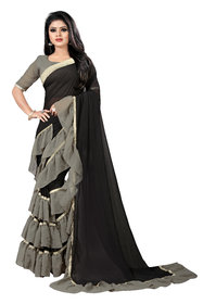 Aldwych Women's Black  Grey Georgette Mix Ruffle Saree With Blouse