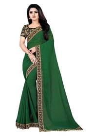 Aldwych Women's Green Georgette Embroidery Saree With Blouse