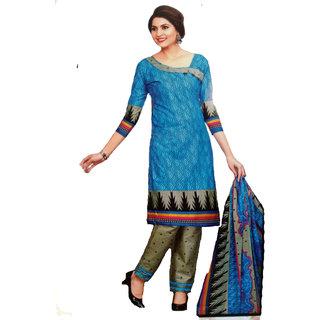Shree Ganesh Retail Women's Blue Printed Pure Cotton Salwar Kameez Suit Unstitched Dress Material