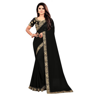 Aldwych Women's Black Georgette Embroidery Saree With Blouse