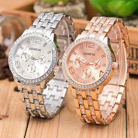 HRV Latest Rose Gold And Silver Crystal Stainless Steel Band Three Eyes Geneva Watch For Women