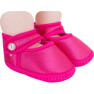 Neska Moda Baby Girls Pack Of 1 Satin Sandal Booties For 6 To 12 Months  (Pink)