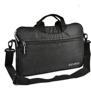 Sanghavi Bag Maysha Laptop Bags Sleeve  Waterproof Business Briefcase Shoulder Strap Handle (M- Black )