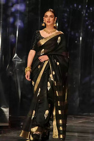 Bhuwal fashion New Letest Cotton Silk Emroidered Saree with Blouse piece