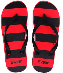 Svaar Striped Red and Black Flip Flops / Slippers for Men