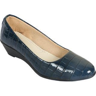 BANJOY Blue Patent Leather Wedges Heel Ladies Bellies