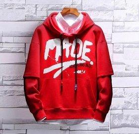 Trendyz Cotton Red Hooded Sweatshirts For Men