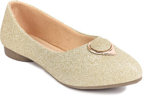 Bonjoy Champagne Synthetic Leather Pointed Ladies Bellies