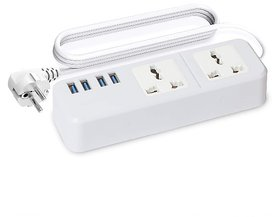 HatHot EXT204 Extension Board Universal 2 Socket with 4 USB Ports, 2.4Amp (White)