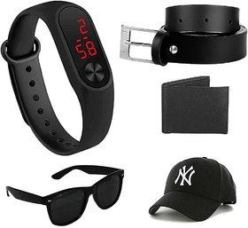 Davidson Sylish Black UV Protected Wayfarer Men Sunglass And Get, Black Belt, Led Band, Wallet, And Cap Free