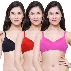 Baremoda Womens Padded Non-Wired T-Shirt Bra Pack of 3