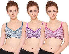 Baremoda Womens Full Cup Stripe Bra Combo Pack of 3