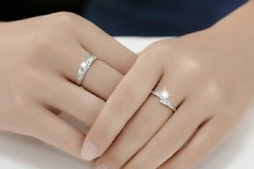 Imported Silver Plated Alloy Stylish Trendy White Sparking stones designer adjustable Silver Ring By SKYWORD TRADING