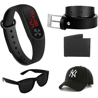 Davidson Sylish Black UV Protected Wayfarer Men Sunglass And Get, Black Belt, Led Band, Wallet, And Cap Free