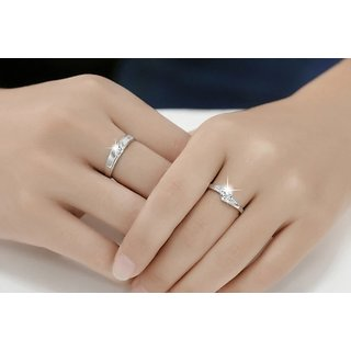 Imported Couple Rings Silver Plated Stylish Trendy White Sparking stones designer adjustable Ring Anniversary Gift