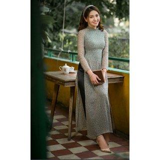 Shilpa Walecha Grey Net Lace Stitched Kurti