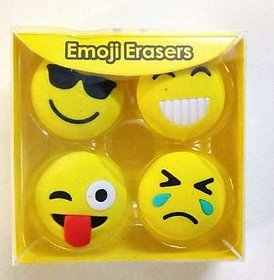 ModishOmbre Cute Emoji Smiley FACE Non-Toxic Cute Newest Eraser School Stationary for Kids/BDay Return Gifts (Smiley Er