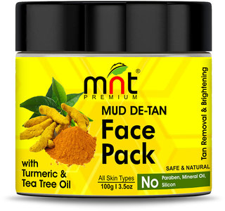 MNT Mud De-Tan Face Pack with Turmeric  Tea Tree Oil for All Skin Types Tan Removal Skin Brightening, 100g