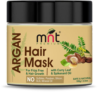 MNT Argan Hair Mask with Curry Leaf  Spikenard Oil for Hair Grow  Frizz free Hair, 100g