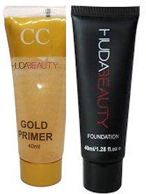 Huda Beauty Makeup foundation 50 ml with Huda Gold CC Face Primer Combo