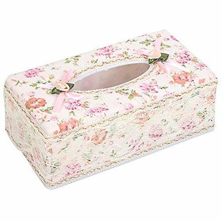ModishOmbre Attractive Tissue Box Tissue Paper Holder, Paper Napkin Storage for Home  Car (Velvet with Lace, Small Flow