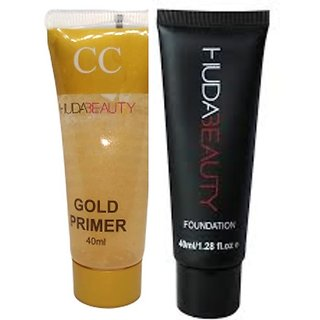 Huda Beauty Makeup foundation 50 ml with Huda Gold CC Face Primer Combo