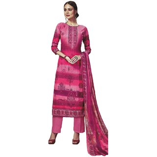 Varun Cloth House Womens Cotton Printed Salwar Suit Material (vch8300, Pink, Free Size)