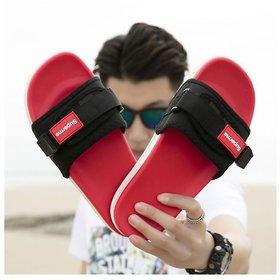 Red Black Slipper For Men
