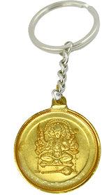 Religious Charm Om Hanumate Namaha  anchmukhi Hanuman Golden Plated (38 mm) Key Chain for Gifiting Friend and Family