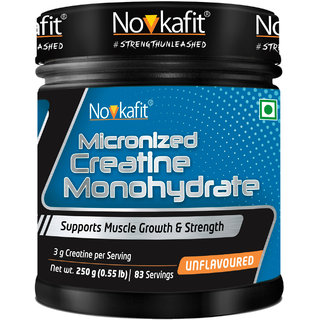 Novkafit Micronized Creatine Monohydrate Powder for Boost Energy  250 g (Unflavoured)