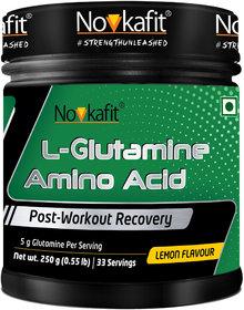 Novkafit L-Glutamine Amino Acid Powder  250 g (0.55 lb), Lemon Flavour
