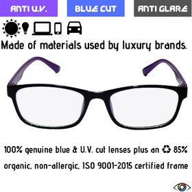Redex blue  UV cut anti glare night driving zero power glasses for protection from harmful rays emitted by Computer