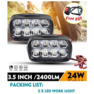 3.5INCH 24W Motorcycle LED Headlight  8 Leds Spotlight 12V LED 6500K Motorbike  Light(Free ON/OFF Switch)Motor bike