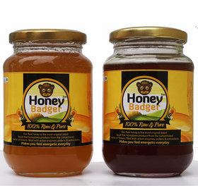 HONEY BADGER Pack of 2 Raw Honey - 500+ 500 Gm