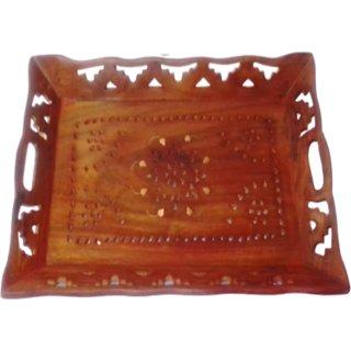 METALCRAFTS Wooden Serving Tray, mango wood, Jali work, size 1510, 38 cm