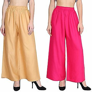 RB Pack of two skin  pink  palazzo pant for women