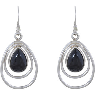 Silverwala 925-92.5 Sterling Silver Onyx Stone Fashion Dangle  Drop Earrings for Women and Girls ( White)