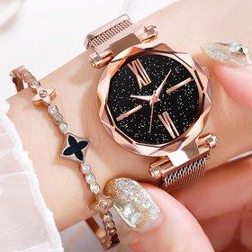 HRV New Fashion 2020 Ladies Wrist Watches for Women Rose Gold Magnet Starry Sky Diamond Quartz Watch For Women