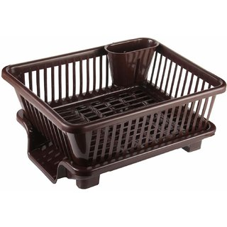 Plastic Kitchen Sink Dish Drainer Drying Rack Washing Basket with Removable Tray Organizer Plastic Kitchen Rack  (Brown