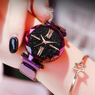HRV New Fashion 2020 Ladies Wrist Watches for Women Purple Magnet Starry Sky Diamond Quartz Watch For Women