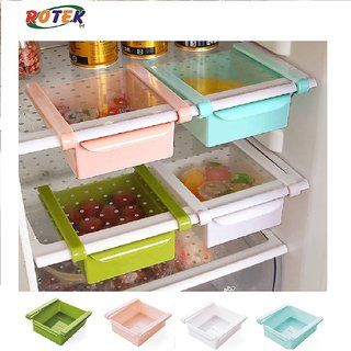 Rotek Set of 2 Pieces Multi Purpose Plastic Storage Rack Organizer for Refrigerators - Random Color