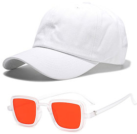 Davidson Combo of Baseball Cap With Kabir Singh Style Red UV Protected Square Shape Sunglasses for Men