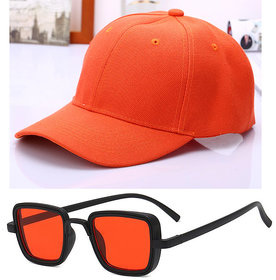 Davidson Combo of Baseball Cap With Kabir Singh Style Sunglasses Red UV Protected Square Shape for Men