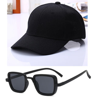Davidson Combo of Baseball Cap With Kabir Singh Style UV Protected Square Black Sunglass For Men